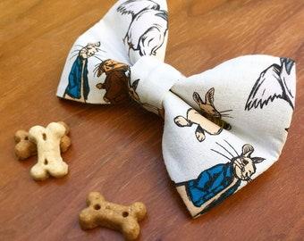 Peter Rabbit bow tie, detachable dog bow tie, dog bow tie, dog bow rabbit bow tie, rabbit print bow, cartoon bow tie, cute bow