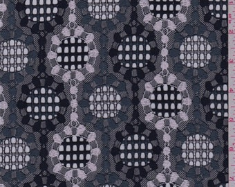 Navy/Slate/White Circular Grid Lace, Fabric By The Yard