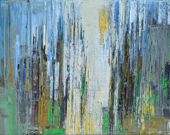 """Oil painting, canvas art, stretched, """"Abstract city 9"""". Size 39,4/ 27,6 inches (100/70cm)"""