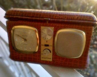 Heritage International Travel Radio Clock Red Leather Case