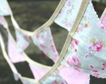 Bunting Fabric Bunting Fabric Banner Birthday Party Bunting Baby Shower Nursery Art Hanging Wall Art Vintage Bunting Tea Party Banner Roses
