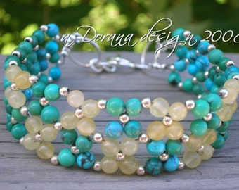BLUE LAGOON Flower Weave Bracelet - Genuine Turquoise and Aragonite in Sterling Silver - Handmade by Dorana