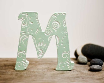 Letters, popular gifts, Valentine's Day, letter art, wooden letters for nursery, art,  letters M, fancy letter,wooden baby letter,wedding