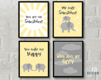 Baby Girl Nursery Art Print - You Are My Sunshine Wall Art Yellow and Grey Nursery Decor - Girl Bedroom
