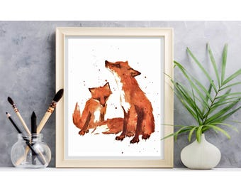 Fox, Nursery FOX Print, Little Brother Gift, fox art, fantastic mr fox, children art