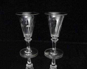 2 antique liquor glasses