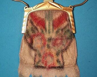 1920's Whiting & Davis purse bag floral dresden mesh purse perfect