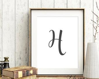 Printable Monogram, Wall Monogram, Initial Print, calligraphy Monogram, Nursery Wall Art, 8x10, Custom Initial, Digital File, M06