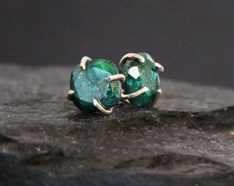 Raw emerald earrings, square rough deep green emerald studs, natural emerald earrings in prong setting, genuine emerald studs