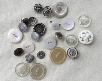 Vintage Buttons Lot - Whites - Button Bib Necklace Lot - 017