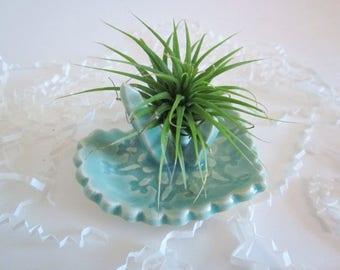 Ceramic Crystal air plant holder, home decor, air planter, ring holder, dorm decor, Ready to ship