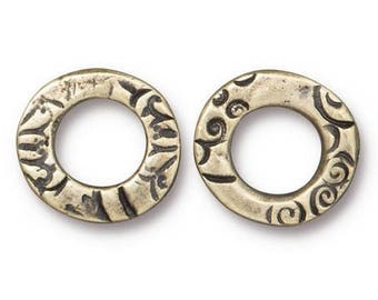 4 TierraCast Flora Ring 1/2 inch ( 13 mm ) Pewter Links Brass Plated