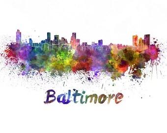 Baltimore skyline watercolor canvas,  Baltimore Canvas, Baltimore wall art, Inner Harbor Canvas Wall Art, Baltimore wall art canvas