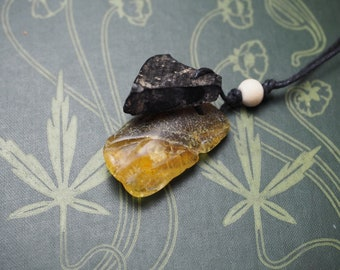 Baltic Amber and Whitby Jet Modern Pendant Necklace - Witchcraft, Pagan, Wicca, Ritual