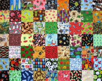 "63 I SPY Childrens 5"" Fabric Quilt Squares All Different Novelty Charm precuts Kids"