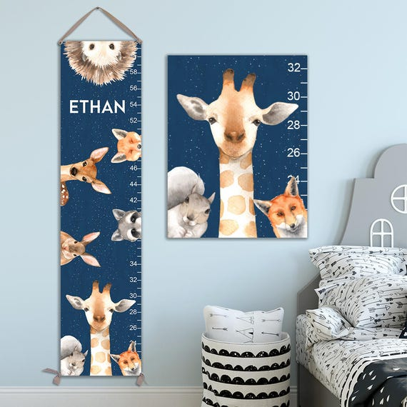 Growth Chart for Boys - Personalized Canvas Growth Chart with Woodland Animals Against Night Sky, Woodland Animals, Toddler Gift - GC4008N