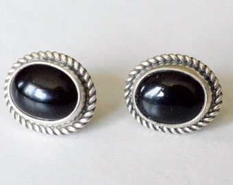 Vintage Sterling Silver Black Onyx Southwestern Style Pierced Post Stud Earrings