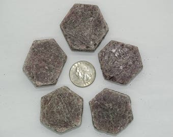 "Bulk lg. 1.38"" X 1.51"" Natural Hexagon Ruby Crystals #4B-5 PCS-Best price"