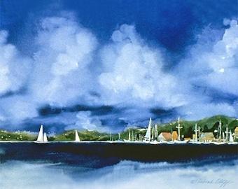 Paradise II // Watercolor Sailboats // Tropical Harbor // Clouds // Blue Sky // Watercolor Print