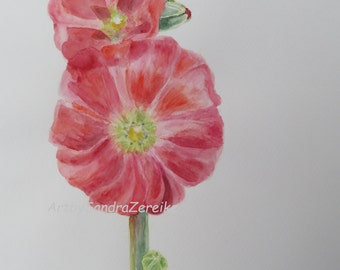 """water color painting red hollyhock  original gift for her 12,5 x 9,4"""" / ArtbySandraZereike"""