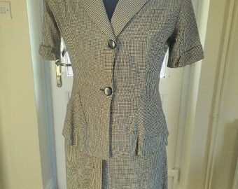 1940s suit, 40s summer suit two piece skirt set navy and white houndstooth check