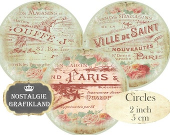 French Floral Circles 2 inch Instant Download digital collage sheet C243 Vintage Logos