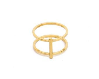 ELEMENTS II - Gold plated Verticality Duo ring (EHBA03)