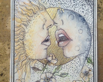 Solis & Luna Kiss Greeting Card