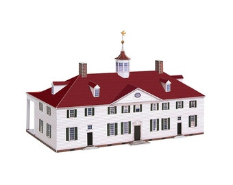 Mount Vernon, assembled paper model of George Washington's mansion || scale 1/100 || full color