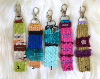 Handwoven Keychain - YOU CHOOSE, OOAK Handmade Keychain with Lobster Clasp, Gift for Her, Keyring, Lanyard, Functional Art, Woven Key Chain