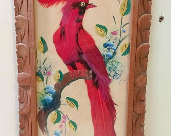 Vintage Bird Picture Made from Feathers