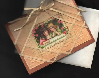 Lovely Victorian Elegant Handmade Card   Ribbons and Lace