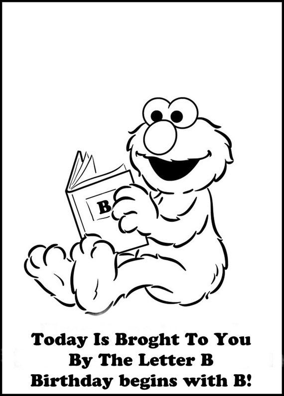 ELMO Sesame Street Printable Coloring Book Birthday Party