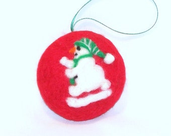 Christmas Ornament - Needle Felted - Snowman Ornament - Red Green & White - Pocket Watch Shape - Felt Christmas - Gift Item