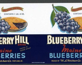 1920s Blueberry Hill Portland Maine Blueberries Can Label