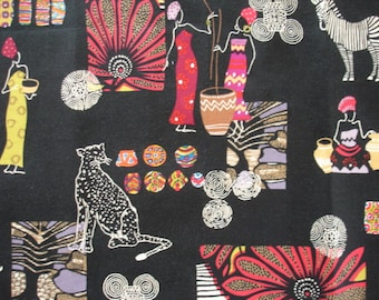 KNITTING BAG APRON - Made To Order - Paired African Motifs on Black Rare Fabric - Please allow 3 weeks for delivery