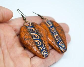 Terracotta Boho Earrings Polymer Clay Jewelry Ethnic Jewelry African Style Tribal Earrings Fall Earrings Boho Gift Christmas Mom Boho Gift