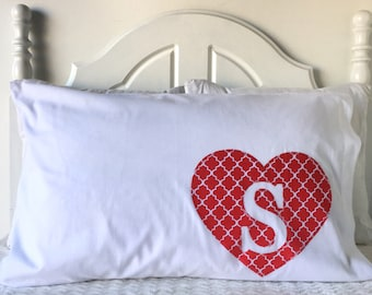 Sweetheart Pillowcase - Heart Pillowcase - Kids Pillowcase - Unique Pillowcase - Cute Pillowcase - Red Pillowcase