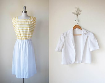1980s vintage yellow stripe white bolero jacket short sleeve pullover dress set m
