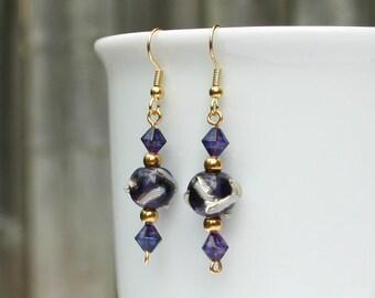 Deep Purple and Gold earrings