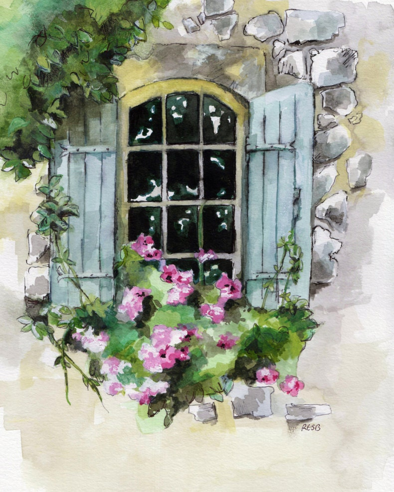 Window Painting Print From Original Watercolor
