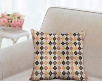 Black, Orange and Off White Designer Halloween Pillow