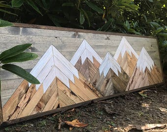 X-Large Five Rustic Wood Mountains Wall Art