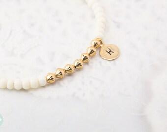 Initial bead bracelet, personalized bracelet, beaded bracelet, seed bead bracelet, gold initial bracelet, cute bracelet, friendship bracelet