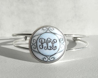 Unique Hand Painted Bracelet, Three Initials, Personalized  Bracelet, Charm Initial Bracelet, Letter Art Personalized Jewelry