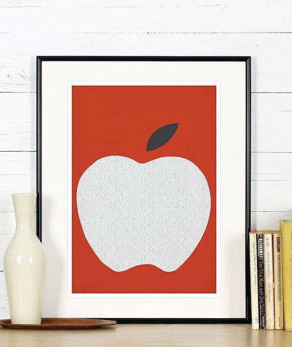 Kitchen Art Red: Fruit Retro Poster Kitchen Art Red Apple Minimalist Design