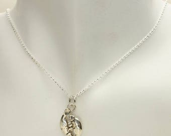 Manatee Silver Necklace, Manatees Pendant in Solid Sterling with Rolo Silver Chain, Nautical Sea Cow