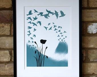 Limited edition bird screen print, hand printed landscape art, flock of birds in flight, poppies and birds, blue and black screenprint art