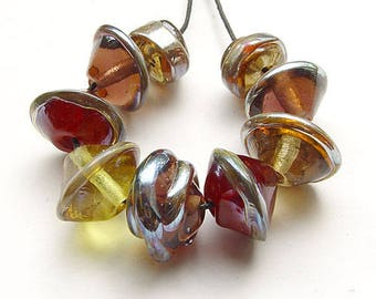 Lampwork, handmade  - jeweltone beads in shiny fall colors - by calisto