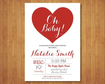 Valentine Baby Shower Invitation. Little Sweetheart Baby Shower Invitation. February. Pink, Red Heart. Girl or Boy. Printable Digital.